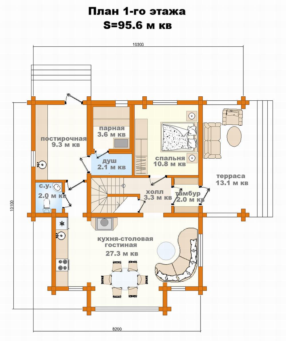 Проект дома клееный брус 128 кв м