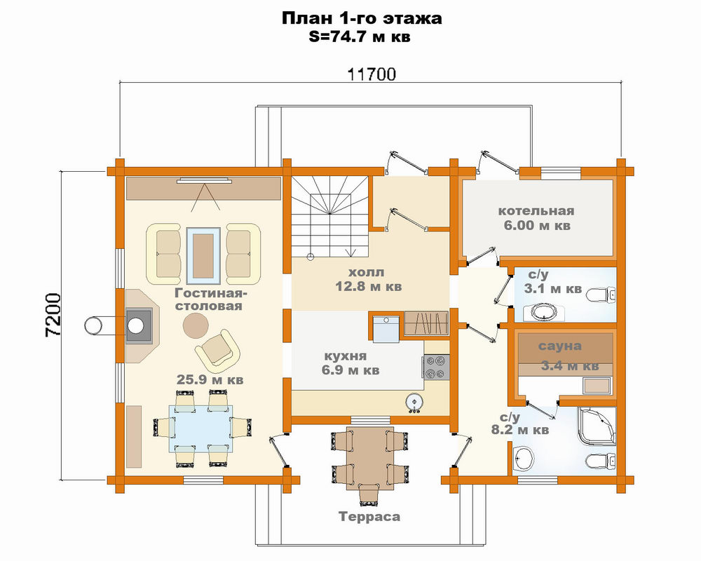 Проекты домов и коттеджей с сауной чертежи и