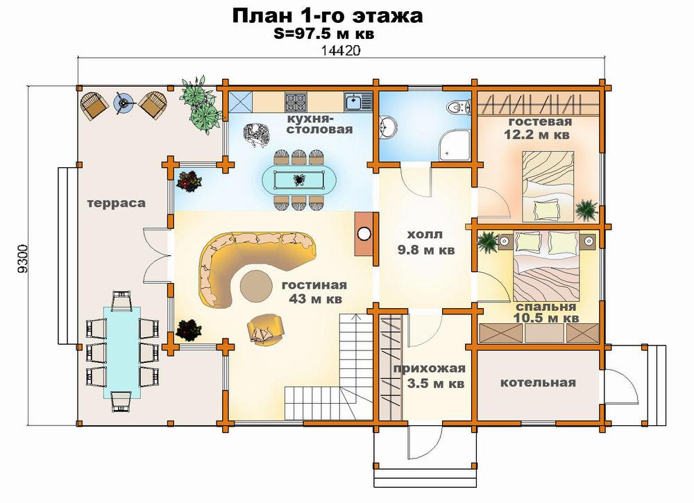 Проект дома клееный брус 154 кв м