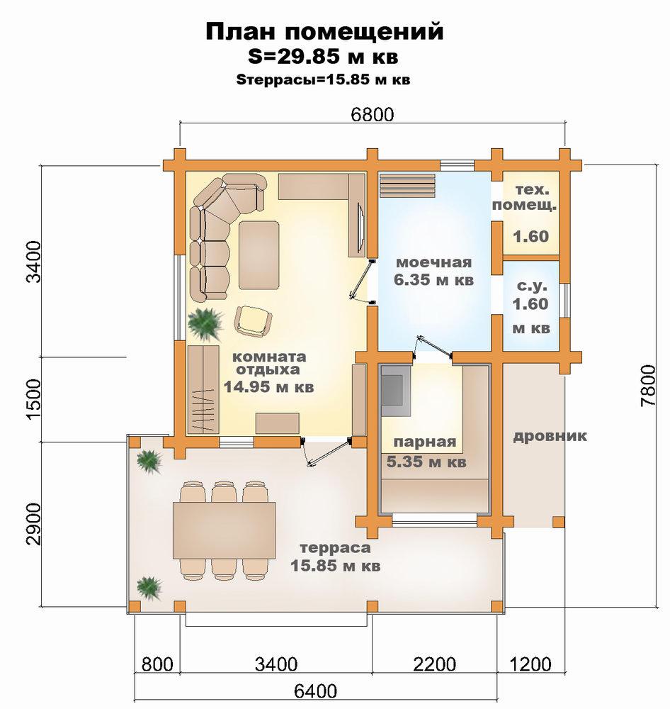 одноэтажные бани из бруса с комнатой отдыха 6х4